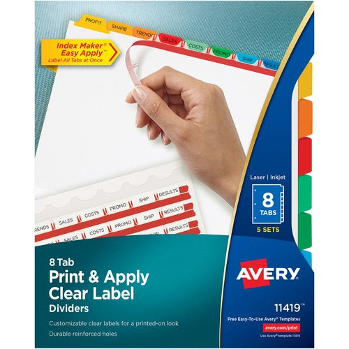 averyreg index maker print apply clear label dividers with traditional color tabs 40 x