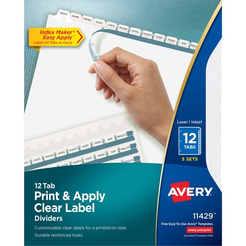 averyreg index maker print apply clear label dividers with white tabs 12 blank tab