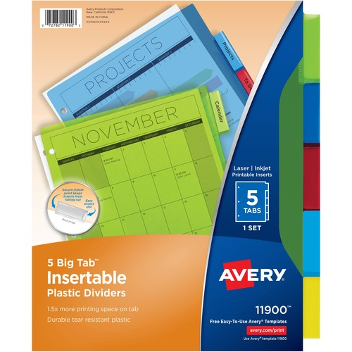 Ave 11900 Avery Big Tab Plastic Insertable Dividers Ave11900
