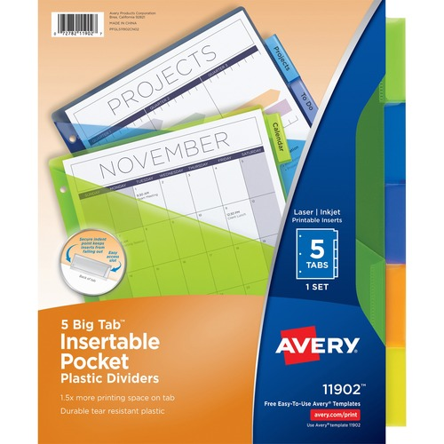 Avery Big Tab Plastic Insertable Dividers 5 Print On Tab S 5