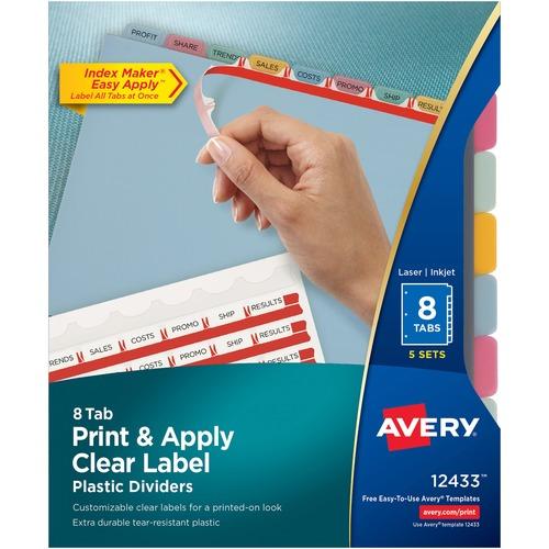 averyreg index maker print apply clear label plastic dividers 8 x dividers blank tabs 8 tabsset 85 divider width x 11 divider len