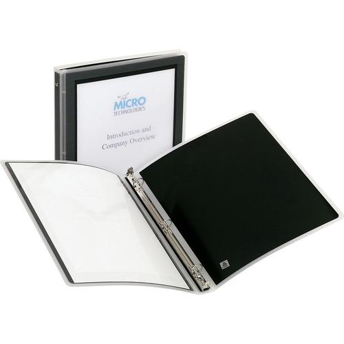 "Avery® Flexi-View 3 Ring Binder, 0.5"" Round Rings, 1 Black Binder - 1/2"" Binder Capacity - Letter - 8 1/2"" x 11"" Sheet Size - 100 Sheet Capacity - 3 x Round Ring Fastener(s) - Internal Pocket(s) - Polypropylene - Black - Flexible, Durable, Lightweight"