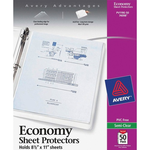 """Avery® Economy-Weight Sheet Protectors - For Letter 8 1/2"""" x 11"""" Sheet - Rectangular - Clear - Polypropylene"""