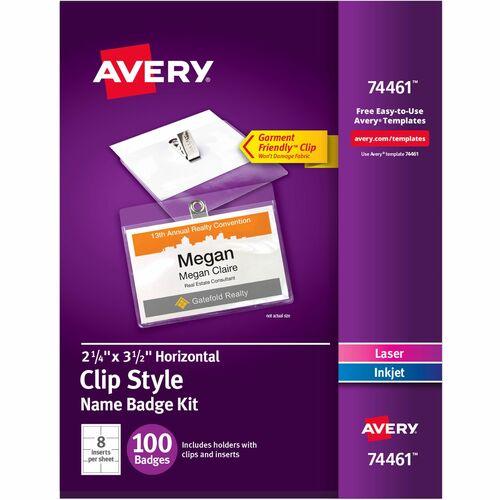 """Avery® Laser, Inkjet Laser/Inkjet Badge Insert - White - 3 1/2"""" x 2 1/4"""" - 100 / Box - Printable"""