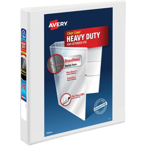"Avery® Heavy-Duty View 3 Ring Binder, 1"" One Touch EZD Rings, White - 1"" Binder Capacity - Letter - 8 1/2"" x 11"" Sheet Size - 275 Sheet Capacity -"