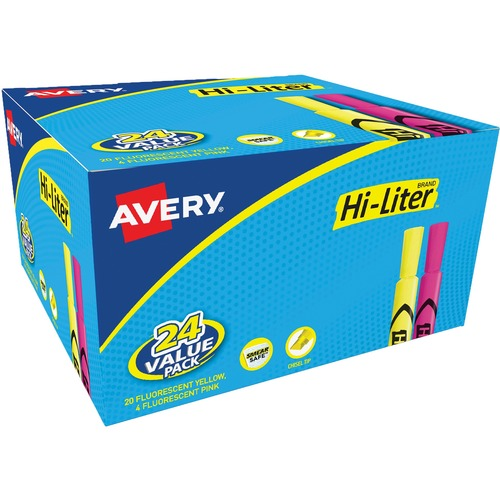 Avery® Hi-Liter Desk-Style Highlighters - SmearSafe - Chisel Marker Point Style - Fluorescent Yellow, Fluorescent Pink - 24 / Box