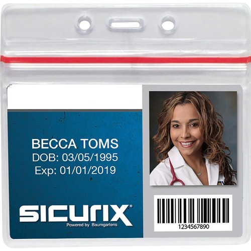 """SICURIX Sealable ID Badge Holder - Support 3.75"""" (95.25 mm) x 2.62"""" (66.55 mm) Media - Horizontal - Vinyl - 50 / Pack - Clear"""