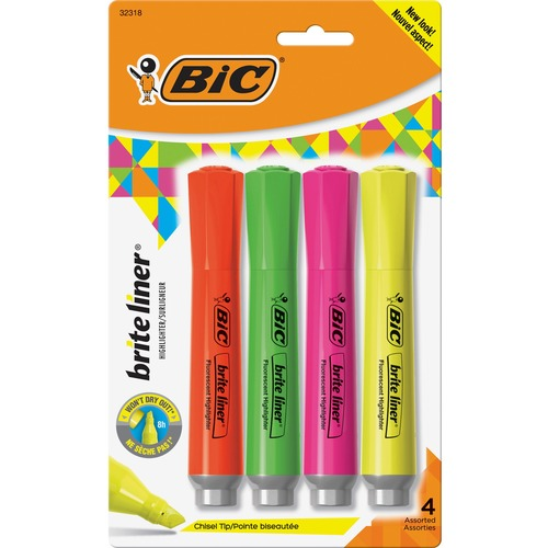 BIC Brite Liner Fluorescent Highlighters - Chisel Marker Point Style - Fluorescent Assorted - 4 / Set