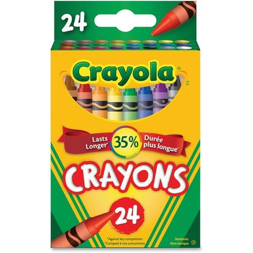 "Crayola Tuck Box Crayon - 3.63"" (92.08 mm) Length - 0.31"" (7.94 mm) Diameter - Assorted - 24 / Pack"