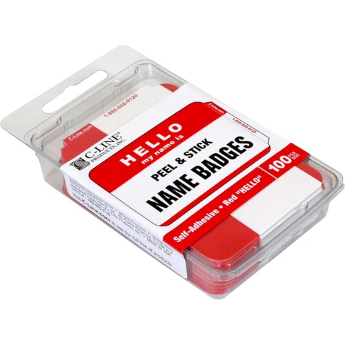 """C-Line Hello My Name Is Adhesive Name Badges - """"Hello My Name Is"""" - 3 1/2"""" x 2 1/4"""" Length - Rectangle - Red - 100 / Box"""