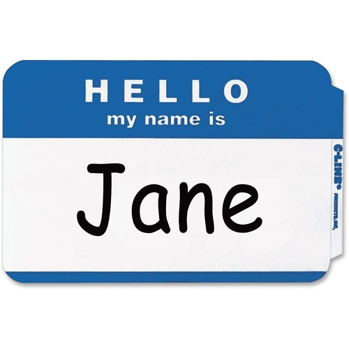 """C-Line Hello My Name Is Adhesive Name Badges - """"Hello My Name Is"""" - 3 1/2"""" x 2 1/4"""" Length - Rectangle - Blue - 100 / Box"""