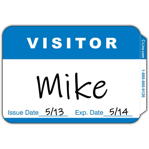 """C-Line Adhesive Visitor Name Badges - """"Visitor"""" - 3 1/2"""" x 2 1/4"""" Length - Rectangle - White - Paper - 100 / Box"""