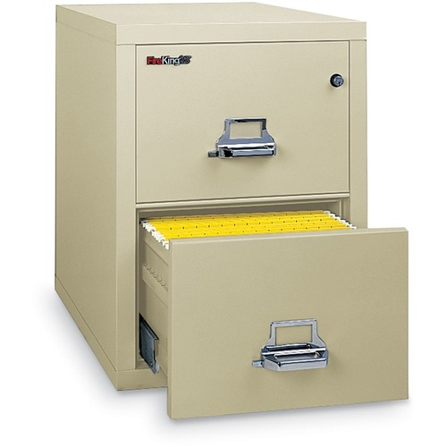 """FireKing Insulated File Cabinet - 2-Drawer - 20.8"""" x 25"""" x 27.8"""" - 2 x Drawer(s) for File - Legal - Vertical - Fire Resistant - Parchment - Powder Coated - Steel"""