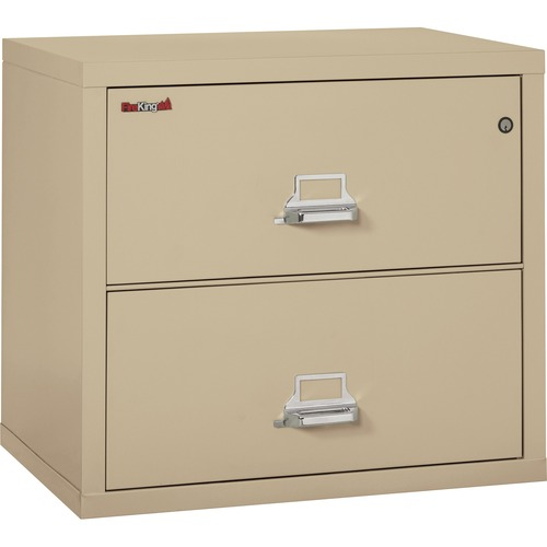 """FireKing Insulated File Cabinet - 2-Drawer - 31.1"""" x 22.1"""" x 27.8"""" - 2 x Drawer(s) for File - Letter, Legal - Lateral - Fire Resistant - Parchment - Powder Coated - Steel"""