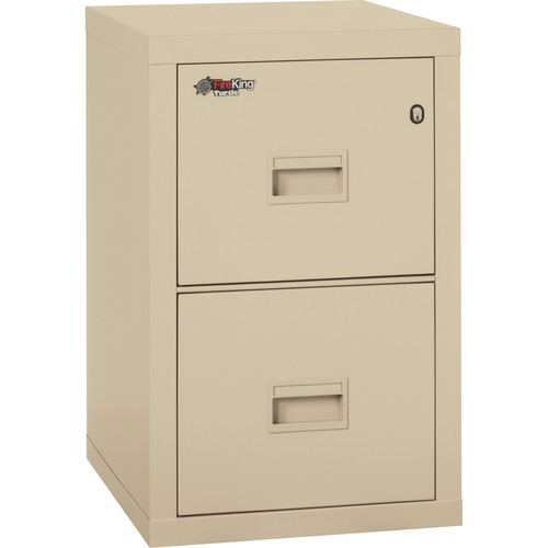 """FireKing Insulated Turtle File Cabinet - 2-Drawer - 17.7"""" x 22.1"""" x 27.8"""" - 2 x Drawer(s) for File - Letter, Legal - Fire Resistant - Parchment - Powder Coated - Steel"""