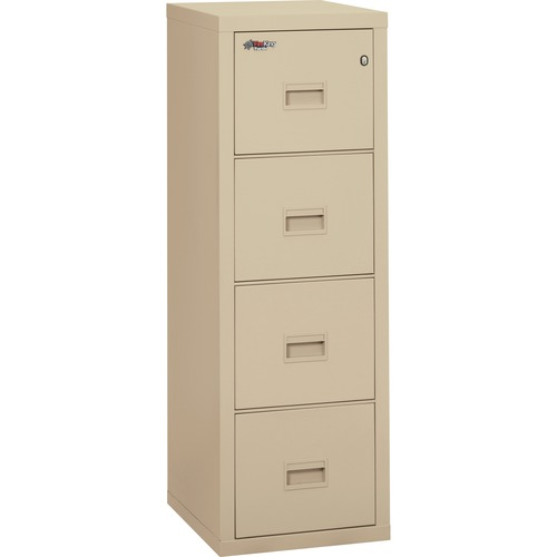 """FireKing Insulated Turtle File Cabinet - 4-Drawer - 17.7"""" x 22.1"""" x 52.8"""" - 4 x Drawer(s) for File - Letter, Legal - Fire Resistant - Parchment - Powder Coated - Steel"""
