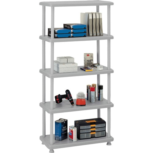 "Iceberg Rough 'N Ready 5-Shelf Open Storage System - 36"" x 18"" x 74"" - 5 x Shelf(ves) - 900 lb Load Capacity - Scratch Resistant, Rust Proof, Dent Pro"