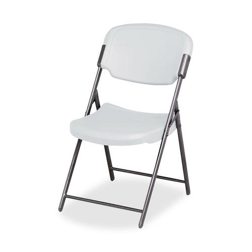 Iceberg Rough 'N Ready Folding Chair - Platinum Polyethylene Seat - Steel Frame - Platinum - 1 Each