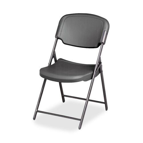 Iceberg Rough 'N Ready Folding Chair - Charcoal Polyethylene Seat - Steel Frame - Charcoal - 1 Each