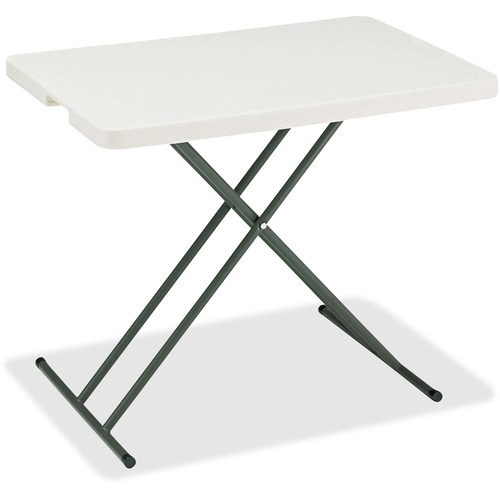 "Iceberg IndestrucTable TOO 1200 Series Adjustable Personal Folding Table - Rectangle Top - 20"" Table Top Length x 30"" Table Top Width - Platinum"