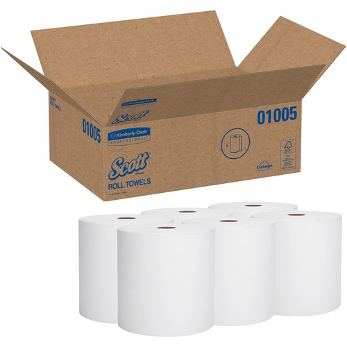 "Scott High-Capacity Hard Roll - 7.87"" x 1000 ft - 1000 Sheets/Roll - White - Paper - Nonperforated, Absorbent - 6 / Carton"