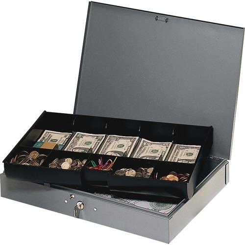 "MMF Heavy Gauge Steel Cash Box with Tray - 5 Bill - 5 Coin - Steel - Gray - 2.3"" Height x 15.4"" Width x 10.5"" Depth"