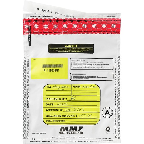 "MMF Tamper-Evident Deposit Bags - 9"" Width x 12"" Length x 2.25 mil (57 Micron) Thickness - White - Polyethylene - 100/Box - Deposit"