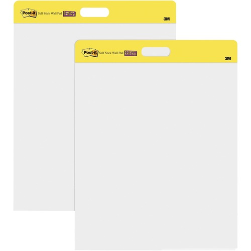 """Post-it® Self-Stick Easel Pads - 20 Sheets - Plain - Stapled - 18.50 lb Basis Weight - 20"""" x 23"""" - White Paper - Self-adhesive, Repositionable, Resist Bleed-through, Removable, Sturdy Back, Cardboard Back - 2 / Pack"""