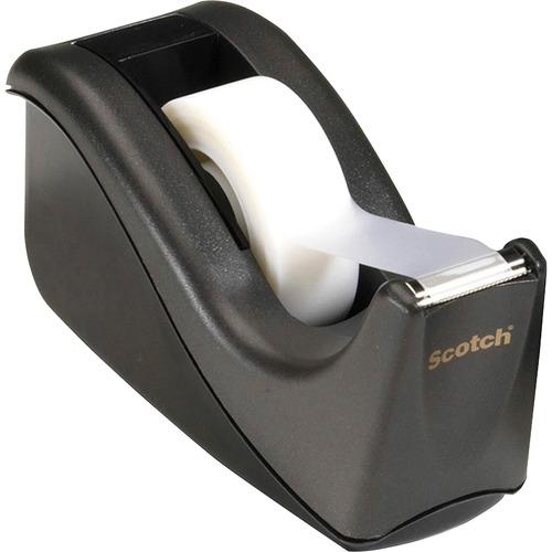 "Scotch Two-tone Desktop Office Tape Dispenser - Holds Total 1 Tape(s) - 1"" (25.40 mm) Core - Refillable - Non-skid Base - Black - 1 Each"