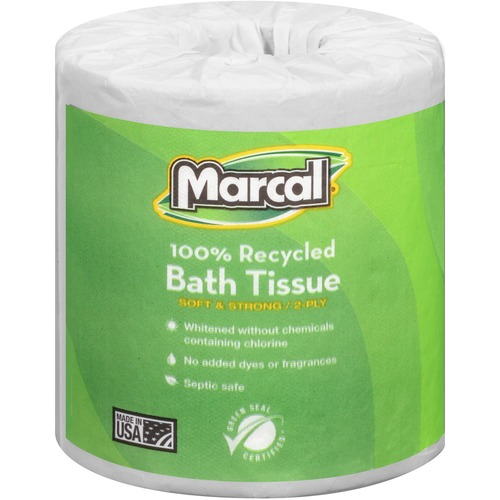 Marcal 100% Recycled, Soft & Absorbent Bathroom Tissue - 2 Ply - 336 Sheets/Roll - White - Soft, Lint-free, Septic Safe - For Washroom - 48 / Carton
