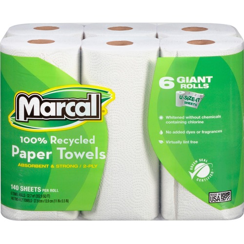 Marcal 100% Recycled, Giant Roll Paper Towels - 2 Ply - 140 Sheets/Roll - White - Perforated, Absorbent - 24 / Carton
