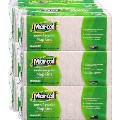"""Marcal 100% Recycled Luncheon Napkins - 1 Ply - 12.50"""" x 11.25"""" - White - Paper - Soft - For Food Service, Office Building, Lunch - 400 Quantity Per P"""