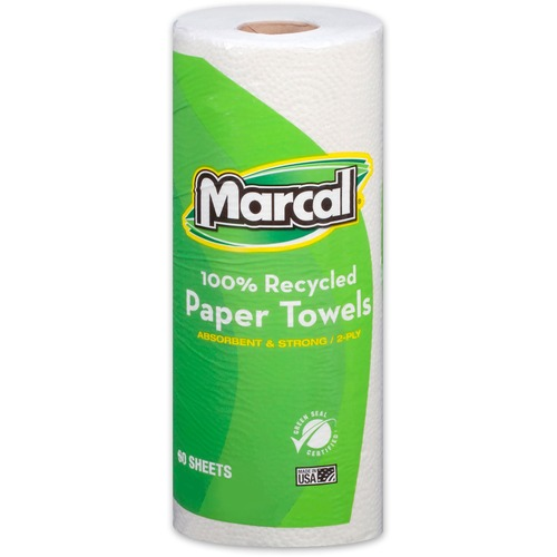 """Marcal 100% Recycled, Paper Towels - 2 Ply - 11"""" x 9"""" - 60 Sheets/Roll - White - Absorbent - 15 / Carton"""