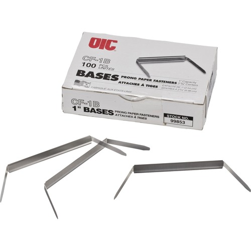 """2/"""" Cap Silver OIC99854 480 pgs,100//BX 2-3//4/"""" Prong Fastener Bases"""
