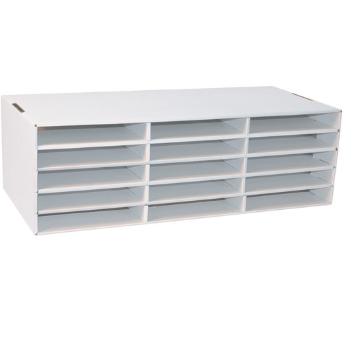 """Classroom Keepers 9"""" x 12"""" Construction Paper Storage - 15 Compartment(s) - Compartment Size 1.50"""" (38.10 mm) x 10"""" (254 mm) x 12.50"""" (317.50 mm) - 9.4"""" Height x 29.3"""" Width x 12.9"""" Depth - Desktop - 70% - White - Corrugated Cardboard - 1 Each"""