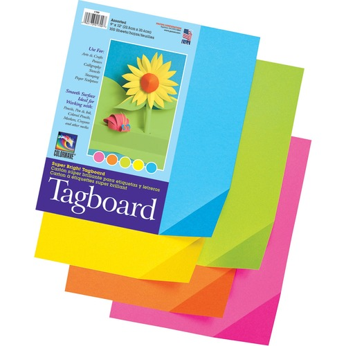 """Pacon Super Bright Tagboard - Art - 9"""" (228.60 mm)Width x 12"""" (304.80 mm)Length - 1 / Pack - Assorted"""