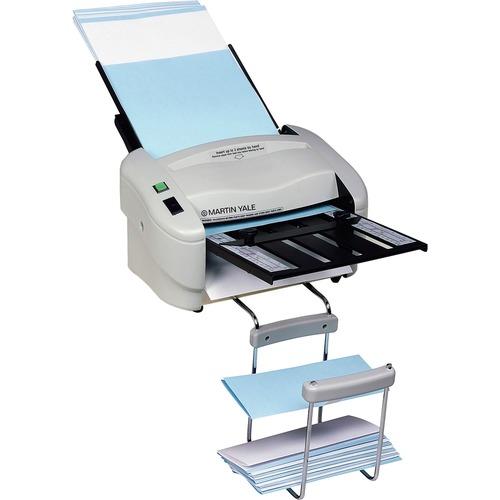 """Martin Yale Premier Rapidfold 8-1/2""""x14"""" Desktop Auto Folder - 4000 Sheets/hour - Z Fold, Half-fold, Letter Fold, Double Parallel Fold - Gray"""