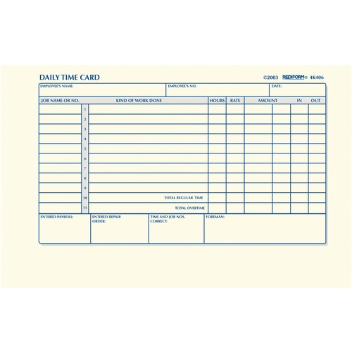 rediform daily time clock cards gummed 1 part 4 1 4 x 7