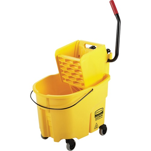 """Rubbermaid Commercial Mop Bucket/Wringer Combination - 33.12 L - Putty Knife Holder - 38.12"""" (968.25 mm) x 16"""" (406.40 mm) x 23.12"""" (587.25 mm) - Plastic, Steel - Yellow - 1 Each"""