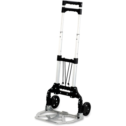 """Safco Stow-Away Hand Truck - Telescopic Handle - 49.90 kg Capacity - 4 Casters - 5"""" (127 mm) Caster Size - Aluminum - x 16.3"""" Width x 25"""" Depth x 39.5"""" Height - Aluminum Frame - Silver, Black - 1 Each"""
