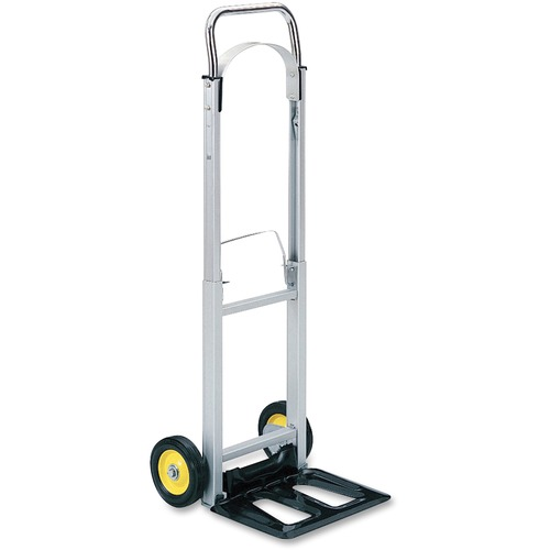 """Safco Hideaway Compact Hand Truck - Folding Handle - 113.40 kg Capacity - 2 Casters - 6"""" (152.40 mm) Caster Size - Steel, Aluminum - x 15.5"""" Width x 16.5"""" Depth x 43.5"""" Height - Aluminum Frame - Silver - 1 Each"""