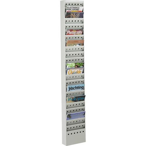 """Safco 23-Pocket Steel Magazine Rack - 23 Pocket(s) - 65.5"""" Height x 10"""" Width x 4"""" Depth - Floor - Scratch Resistant - Gray - Steel - 1 Each"""