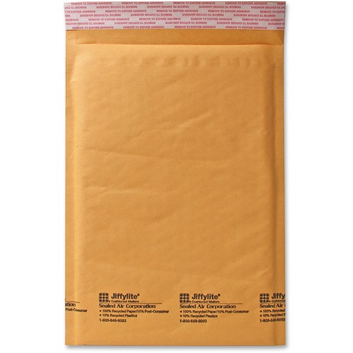 "Sealed Air JiffyLite Cellular Cushioned Mailers - Bubble - #4 - 9 1/2"" Width x 14 1/2"" Length - Peel & Seal - Kraft - 25 / Carton - Kraft"