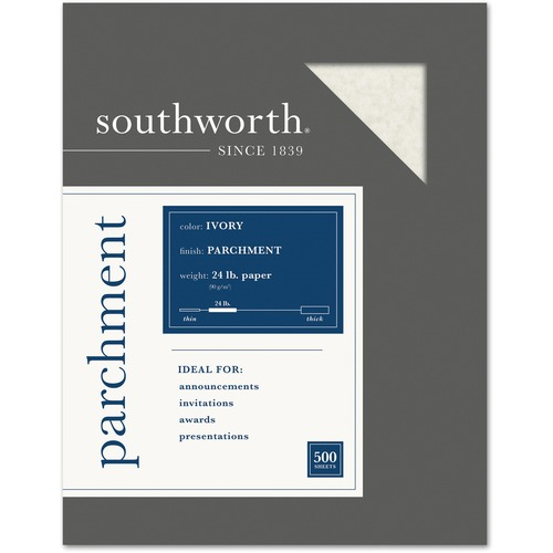Southworth 974C Parchment Specialty Paper Gray 24 lb 8 1//2 x 11 500//Box