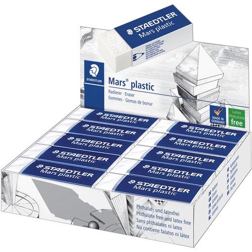 "Staedtler Mars Plastic Eraser - White - Plastic - 2.50"" (63.50 mm) Width x 0.50"" (12.70 mm) Height x 0.87"" (22.10 mm) Depth x - 20 / Box - Latex-free,"