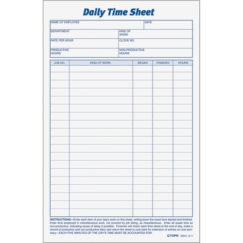 Tops Daily Time Sheet Form 100 Sheet S 6 X 9 1 2 Sheet Size White White Sheet S Black Print Color 2 Pack