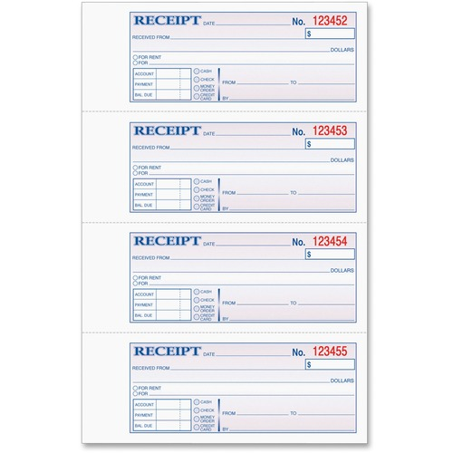 photograph about Printable Receipt Book named TOPS Funds/Hire Receipt Reserve - 3 Portion - Carbonless Replica - 2