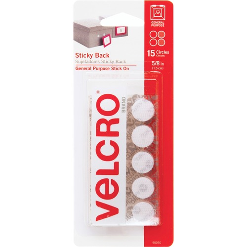 "VELCRO Sticky Back Coins - 0.62"" (15.7 mm) Length x 0.62"" (15.7 mm) Width - 15 / Pack - White"