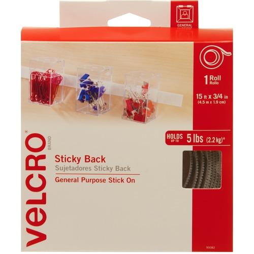 "VELCRO® Sticky Back Tape - 15 ft (4.6 m) Length x 0.75"" (19.1 mm) Width - 1 / Roll - White"