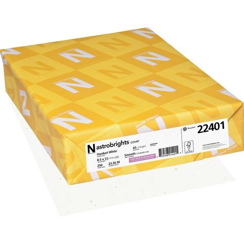 "Astrobrights Inkjet, Laser Printable Multipurpose Card - Stardust White - 30% - Letter - 8 1/2"" x 11"" - 65 lb Basis Weight - Smooth - 250 / Pack - FSC, Green Seal"